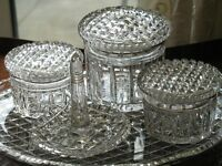 Vintage : An attractive cut glass Dressing Table set