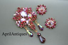 Vintage Crown Trifari red rhinestones chandelier drop Brooch set