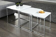 Design Table basse Lot De 3 Chrome en blanc D'appoint Zigon REPRO NEUF