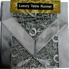 SILVER EMBROIDERED TABLE RUNNER LUXURY ORGANZA SATIN SILK POLYESTER 13x72""