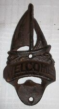Boat Cast Iron Sailboat Bottle Opener Wall / Counter Mount Welcome Beach Rustic