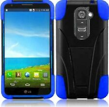 Blue Hybrid Hard Soft Dual Layer Rugged Tough Stand Case for Verizon LG G2 VS980