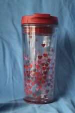 Starbucks Coffee 2007 Insulated 8 oz Travel Tumbler Valentine's Flip Lid Hearts