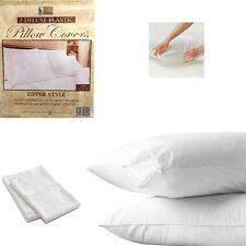 "12 White Hotel Pillow Plastic Cover Case Waterproof Zipper Protector Bed 21""X27"""
