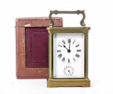 "Antico Francese CARRIAGE CLOCK WITH ALARM & Custodia, MARCATO ""F.E"", Onorato, lavorando"