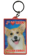 """Porte clé 3D """"J'aime mon Welsh Corgi"""" chien idée cadeau pas cher NEUF"""