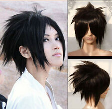 Uchiha Sasuke Cosplay Wig Black Short Layered Synthetic Hair Wigs for Men