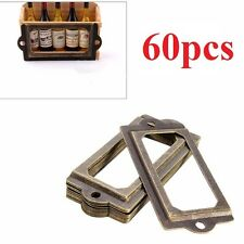 60Pcs Antique Brass Metal Label Pull Frame Handle File Name Card Holder