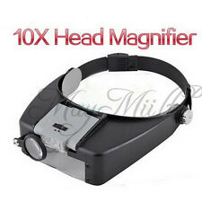 10x Magnifying Glass LED Light Head Headband Magnifier Loupe W/ Sunshield Z