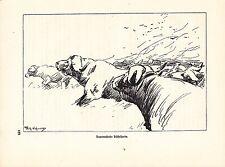 Kilimandscharo Deutsch-Ostafrika Lithographie von 1920 Wilhelm Kuhnert Afrika