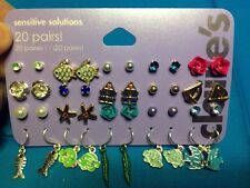 20 Pairs Of Claire's Sensitive Solutions Fish Studs And Ball Earrings