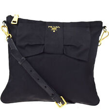 Authentic PRADA Logos Cross Body Shoulder Bag Nylon Leather Black Italy 09Y803