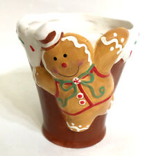 Christmas Holiday 3D Gingerbread Man Cup Mug Candy Cane Handle Handcrafted NEW