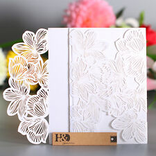 12pcs White Paper Laser Cut Wedding Party Evening Invitation Card