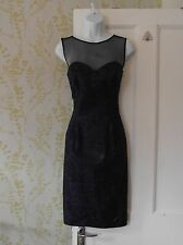 UNTOLD party/evening dress, midnight blue & black, sheer black décolletage UK 10