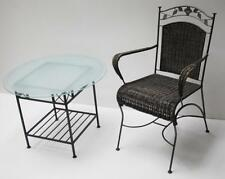 Vintage Metal Framed Wicker Chair and Glass Top Table Set -FREE Delivery[PL1336]
