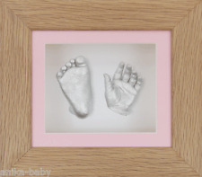 New Unique Baby Girl Pink 3D Cast Kit Silver Hand/Feet Casts Solid Oak Frame