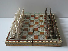 Vintage Egyptian Inlaid Mother Of Pearl Wooden Chess Set With Pieces