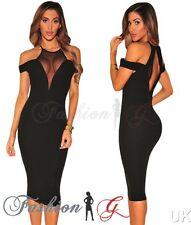 Womens Midi Dress Black Party Bodycon Evening Pencil Wiggle Long Size 12 14 16-L