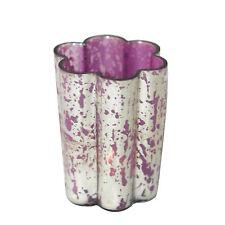 Windlicht Blüte aus Glas silber / lila 10cm