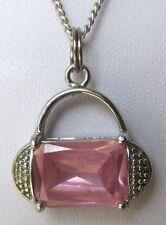 Chaîne pendentif collier bijou rétro couleur argent sac à main cristal rose 117