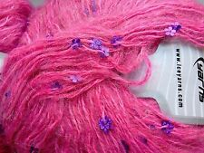 2 x 50g Mohair Yarn. Pink with Violet Flower Sequins. Knit/Crochet/Weave