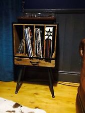 RETRO RECORD PLAYER CABINET LP'S VINYL RECORD HOLDER STORAGE WOOD AND METAL