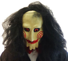 Evil-Halloween-SAW FULL OVERHEAD LATEX HORROR MASK with attached wig One Size