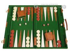"""Deluxe Backgammon Board Game Set - 18"""" Green Attache Case"""