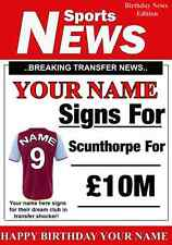 A5 Personalised Scunthorpe  Football Greeting Birthday Card any name, age value