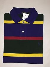 N-W-TAGS RALPH LAUREN MEN'S CUSTOM FIT RUGBY POLO SHIRT- MEDIUM - MULTI COLOR