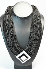 TRIBAL HANDMADE FASHIONABLE SQUARE PANDENT/BLACK SEED BEADS NECKLACE/NEW DESIGN