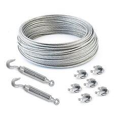 SET 40m câble acier galvanisé 6x19 6mm + 6 serre-câbles étrie et 2 tendeurs a ca