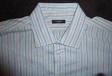 BURBERRY - BLUE & PINK STRIPE LONG-SLEEVE SHIRT - MENS 17 1/2 L