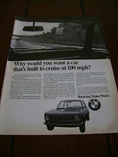 1969 BMW - CRUISE AT 100 MPH -  ***ORIGINAL VINTAGE AD***