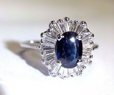 14K White Gold Natural Sapphire Baguette Diamond Ballerina Halo Ring Size 6.5