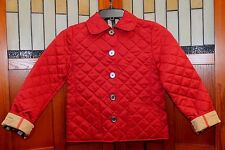 NEW Burberry Children Red Quilted Nova Check Plaid Jacket Coat Girls 7 Year 7 Y