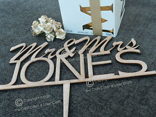 Mr & Mrs Personalised, Wedding Cake Topper, Hardwood, Vintage, Upto 6 Letters