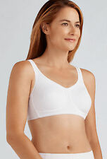 Non-Wired Soft Cup Bra - WHITE - Pocketed Mastectomy Bra 'Mona' by Amoena - 42B