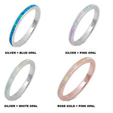 Multi Color Opal 925 Sterling Silver Engagement Wedding Eternity Band Ring