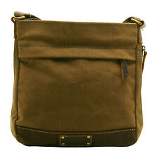 TROOP LONDON - BROWN HERITAGE MESSENGER BAG IN CANVAS-LEATHER