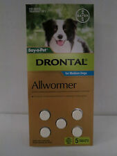 Drontal all wormer for Medium Dogs 5 Tabs (10kg per Tab)