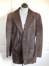 Men's Leather Suede Beged Or Jacket Brown Vintage Blazer Made in Israel Large M