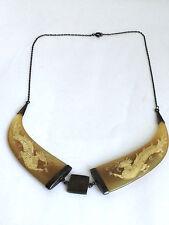 Chinesische Antike Asiatische Horn Drachen Muster Halskette Kette Silber 925