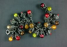 Vintage Napier Bracelet Chunky Moonglow Lucite Charms Fall Colors