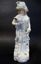 "Bisque Porcelain Figurine *Gentleman with Dove* - Japan - 8 5/8"" H -White/Gilt"