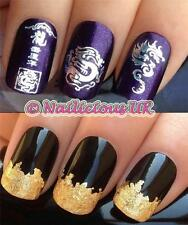 NAIL ART SET # 105 CHINESE DRAGON  WATER TRANSFERS/DECALS/STICKERS & GOLD LEAF