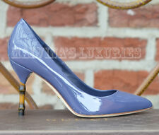 $670 GUCCI SHOES KRISTEN BAMBOO HEEL PUMPS UNIFORM BLUE PATENT LEATHER 38 8