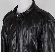 Vintage Members Only Brown Leather CAFE RACER Motorcycle Jacket Sz 46 Large