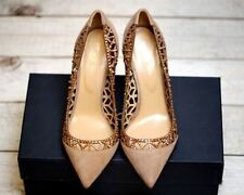 $1,195 Sergio Rossi Rose Gold Beige Crystal Cutout Leather Pumps 38 7.5 8 SOLD O